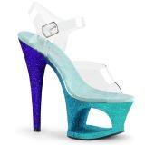Kék csillámos 18 cm Pleaser MOON-708OMBRE rúdtánc magassarkú cipő