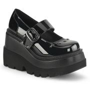 Lakkbőr 11,5 cm SHAKER-23 alternatív cipők platformos fekete