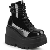 Lakkbőr 11,5 cm SHAKER-52 alternatív ek bokacsizma platformos fekete