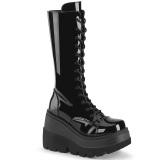 Lakkbőr 11,5 cm SHAKER-72 gótikus fűzős csizma női platformos fekete