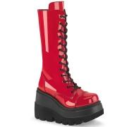 Lakkbőr 11,5 cm SHAKER-72 gótikus fűzős csizma női platformos piros