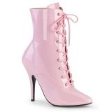 Lakkbőr 13 cm SEDUCE-1020 fetish bokacsizma magassarkű rózsaszín