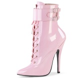 Lakkbőr 15 cm DOMINA-1023 fetish bokacsizma magassarkű rózsaszín