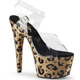 Leopárd 18 cm BEJEWELED-708LP női cipők a magassarkű Csillogó Kövekkel