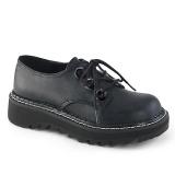 Műbőr 3 cm LILITH-99 Fekete punk cipők fűzővel