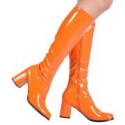 Narancssárga csizmák lakkbőr blokk sarok 7,5 cm - 70 -es évek hippi disco térdig érő csizma gogo