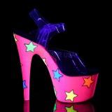 Neon csillámos 18 cm Pleaser ADORE-708STR rúdtánc magassarkú cipő