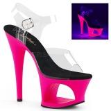 Pink 18 cm MOON-708UV Szandál Magassarkú Neon Platform