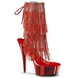 Piros 15,5 cm DELIGHT-1017RSF női rojtos bokacsizma a magassarkű