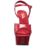Piros 15 cm Pleaser DELIGHT-609 Magassarkú Platform
