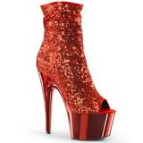 Piros 18 cm ADORE-1008SQ női flitterekkel bokacsizma a magassarkű