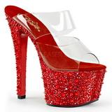 Piros 18 cm BEJEWELED-702SP Csillogó Kövekkel Platform Cipők