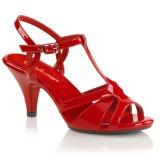 Piros 8 cm BELLE-322 transzvesztita magassarkű cipő