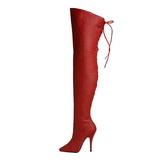 Piros Bőr 13 cm LEGEND-8899 Magassarkú Combcsizma