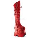 Piros Csillámos 22 cm FABULOUS-3035 Női Combcsizma a Drag Queen