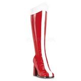 Piros Fehér 8 cm GOGO-305 Térdig érő Csizma Női