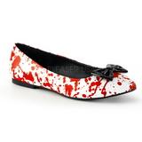 Piros Fehér Demonia VAIL-20BL Lapos Balerínky Cipők