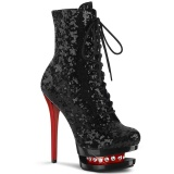 Piros Fekete 15,5 cm BLONDIE-R-1020 női platform bokacsizma flitterekkel