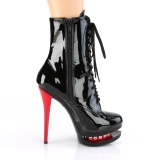 Piros Fekete 15,5 cm BLONDIE-R-1020 női platform bokacsizma lakk