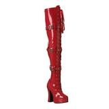 Piros Lakk 13 cm ELECTRA-3028 Overknee Csizma - Térdcsizma