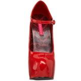 Piros Lakk 14,5 cm Burlesque BORDELLO TEEZE-07 Platform Körömcipők