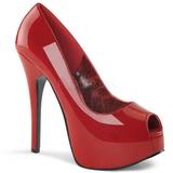 Piros Lakk 14,5 cm Burlesque TEEZE-22 Körömcipők Tűsarkú Magas Cipők