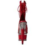 Piros Matt Platform Bokacsizma női 16,5 cm Pleaser ILLUSION-1018