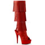 Piros Műbőr 15 cm DELIGHT-2019-3 női rojtos csizma a magassarkű