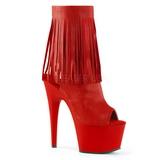 Piros Műbőr 18 cm ADORE-1019 női rojtos bokacsizma a magassarkű