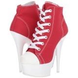 Piros Neon 15 cm DELIGHT-600SK-02 vászon magassarkú tornacipő
