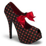 Piros Pontok 14,5 cm Burlesque TEEZE-25 Fekete Körömcipők
