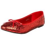 Piros STAR-16G Csillámos Lapos Balerina Cipők Női