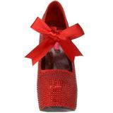 Piros Strasszköves 14,5 cm Burlesque TEEZE-04R Platform Körömcipők