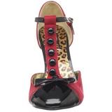 Piros Szarvasbőr 10 cm SMITTEN-10 Rockabilly Női Körömcipők