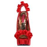 Piros Szatén 14,5 cm Burlesque TEEZE-56 Platform Szandál Magassarkú
