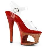 Piros csillámos 18 cm Pleaser MOON-708OMBRE rúdtánc magassarkú cipő
