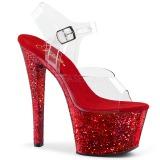 Piros csillámos 18 cm Pleaser SKY-308LG rúdtánc magassarkú cipő