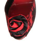 Piros csipke anyag 13,5 cm BELLA-17 Magassarkú Szandálok