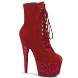 Piros glitter 18 cm ADORE-1020FSMG rúdtánc cipő - platform bokacsizma