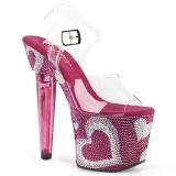 Rozsaszin 18 cm LOVESICK-708HEART női cipők a magassarkű Csillogó Kövekkel
