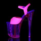 Rozsaszin 20 cm FLAMINGO-809UVT Neon Platform Szandál Magassarkú