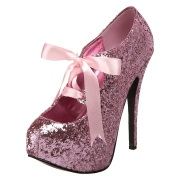 Rozsaszin Csillámos 14,5 cm TEEZE-10G Concealed burlesque Körömcipők Tűsarkú Cipő