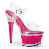 Rózsaszín Csillogó Kövekkel 16,5 cm ILLUSION-658RS női cipők a magassarkű
