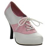 Rózsaszín Fehér 11,5 cm SADDLE-48 Oxford női cipők a magassarkű