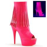 Rózsaszín Neon 15 cm DELIGHT-1019 női rojtos bokacsizma a magassarkű