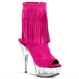 Rózsaszín Szarvasbőr 15 cm DELIGHT-1019 női rojtos bokacsizma a magassarkű