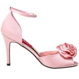 Rózsaszín Szatén 9,5 cm ROSA-02 Szandál Magassarkú