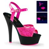 Rózsaszín csipke anyag 15 cm KISS-209ML Szandál Magassarkú Neon Platform