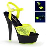 Sárga csipke anyag 15 cm KISS-209ML Szandál Magassarkú Neon Platform