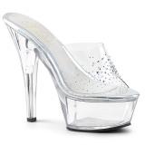 Strasszköves 15 cm Pleaser KISS-201SD alacsony sarkú női papucs